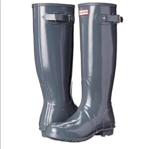 Hunter Boots Tall Grey Glossy Size 9